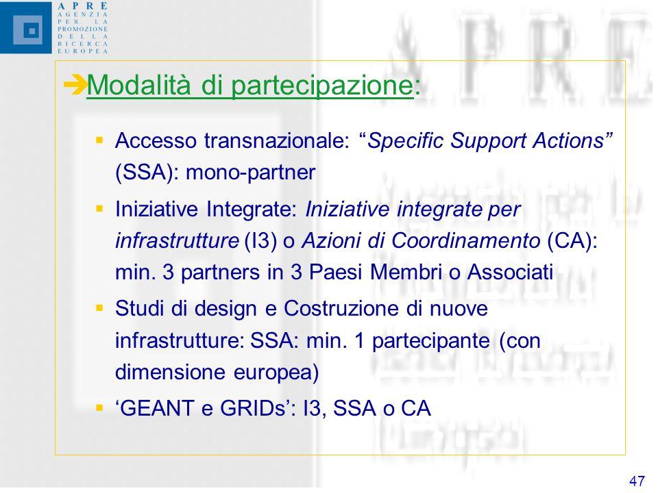 47 Modalità di partecipazione: Accesso transnazionale: Specific Support Actions (SSA): mono-partner Iniziative Integrate: Iniziative integrate per infrastrutture (I3) o Azioni di Coordinamento (CA): min.