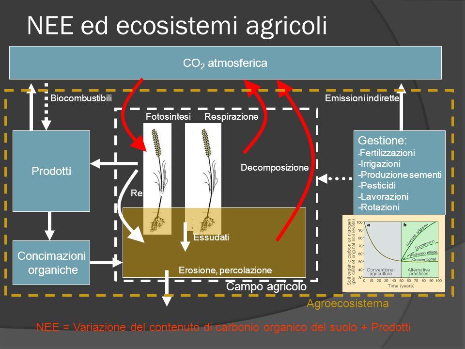 NEE ed ecosistemi agricoli CO 2 atmosferica Gestione: - Fertilizzazioni -Irrigazioni -Produzione sementi -Pesticidi -Lavorazioni -Rotazioni Prodotti F