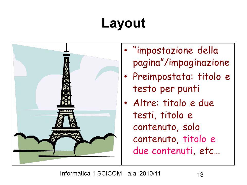 Informatica 1 SCICOM - a.a. 2010/11 13 Layout impostazione della pagina/impaginazione Preimpostata: titolo e testo per punti Altre: titolo e due testi