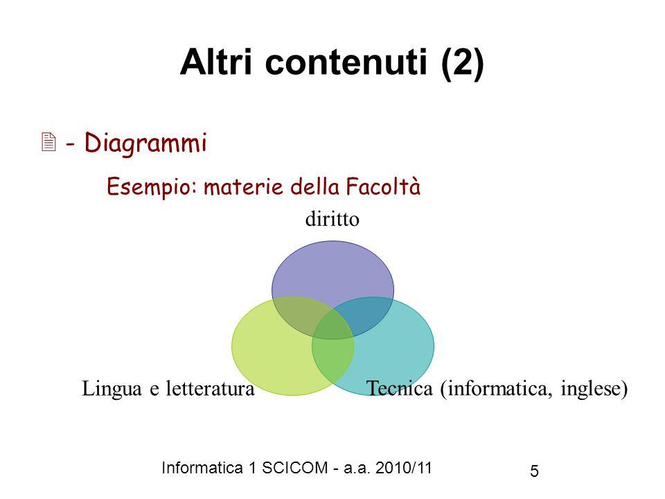 Informatica 1 SCICOM - a.a. 2010/11 5 Altri contenuti (2) diritto Tecnica (informatica, inglese) Lingua e letteratura - Diagrammi Esempio: materie del