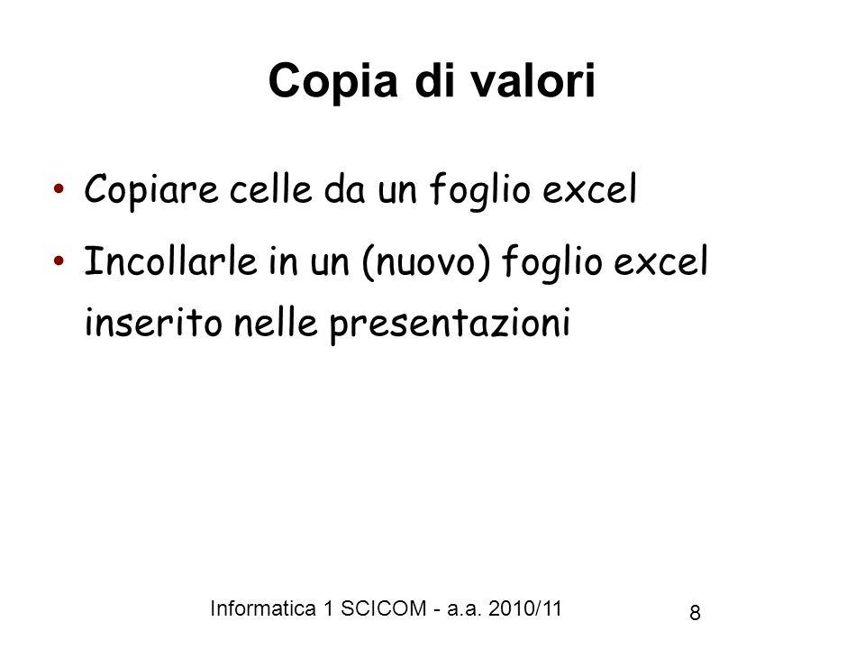 Informatica 1 SCICOM - a.a. 2010/11 8 Copia di valori Copiare celle da un foglio excel Incollarle in un (nuovo) foglio excel inserito nelle presentazi