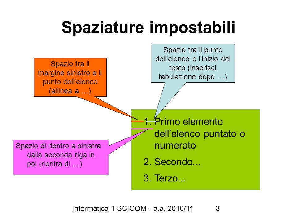 Informatica 1 SCICOM - a.a. 2010/11 3 Spaziature impostabili 1.Primo elemento dellelenco puntato o numerato 2.Secondo... 3.Terzo... Spazio tra il marg