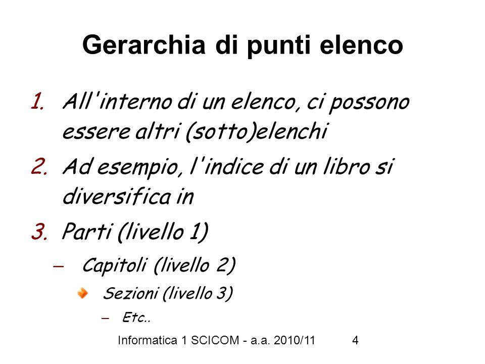 Informatica 1 SCICOM - a.a. 2010/11 4 Gerarchia di punti elenco 1.All'interno di un elenco, ci possono essere altri (sotto)elenchi 2.Ad esempio, l'ind