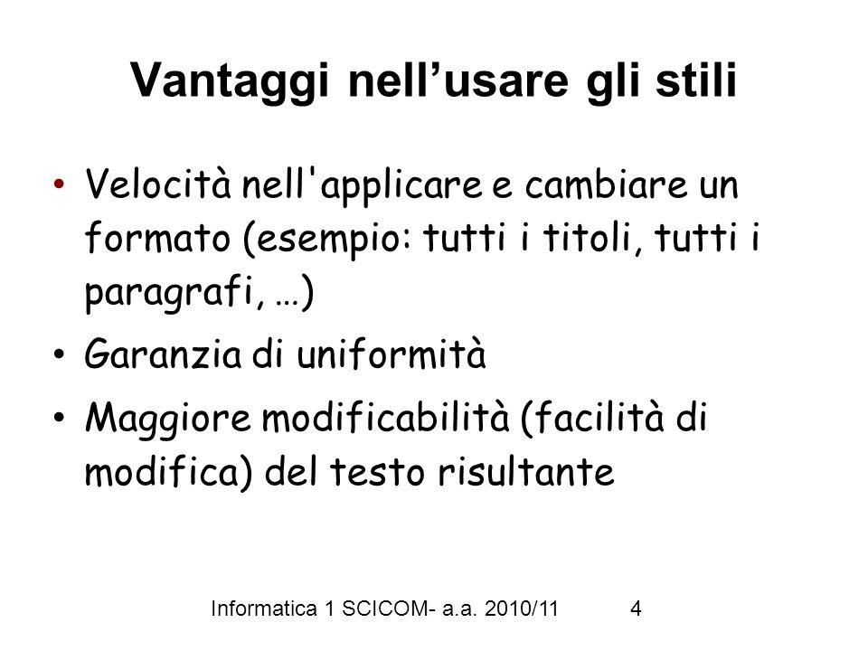 Informatica 1 SCICOM- a.a.2010/11 5 Visualizzazioni di un documento 1.
