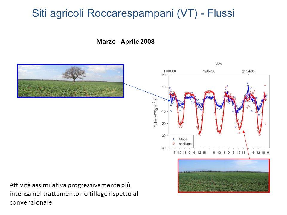 Giugno 2008Settembre 2008 Flusso di CO 2 integrato giornaliero positivo (sistemi in emissione) a partire da Giugno e simile per entrambi i trattamenti Siti agricoli Roccarespampani (VT) - Flussi