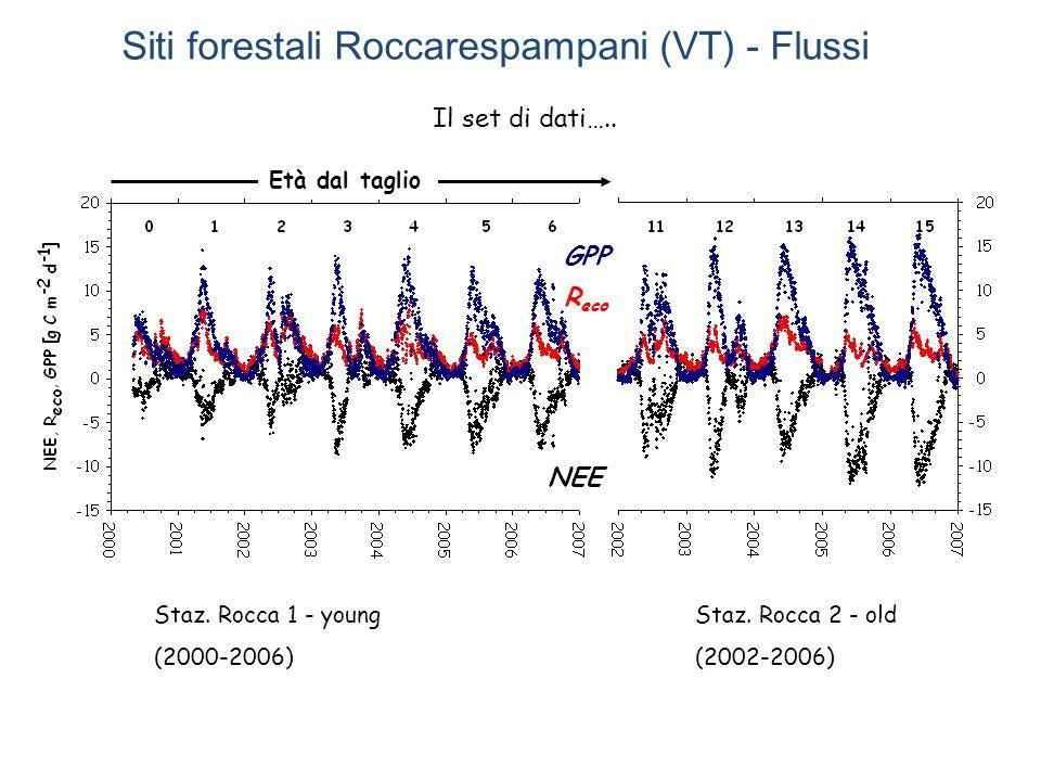 Età dal taglio Staz. Rocca 1 - young (2000-2006) Staz. Rocca 2 - old (2002-2006) Il set di dati….. NEE GPP R eco Siti forestali Roccarespampani (VT) -
