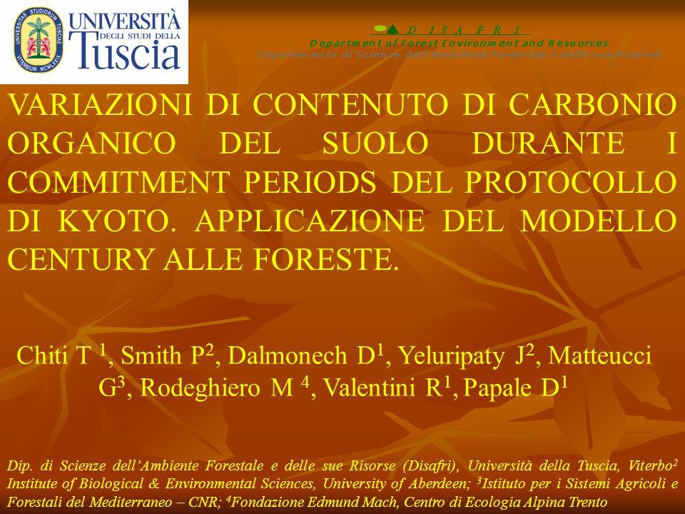 Chiti T 1, Smith P 2, Dalmonech D 1, Yeluripaty J 2, Matteucci G 3, Rodeghiero M 4, Valentini R 1, Papale D 1 Dip. di Scienze dellAmbiente Forestale e