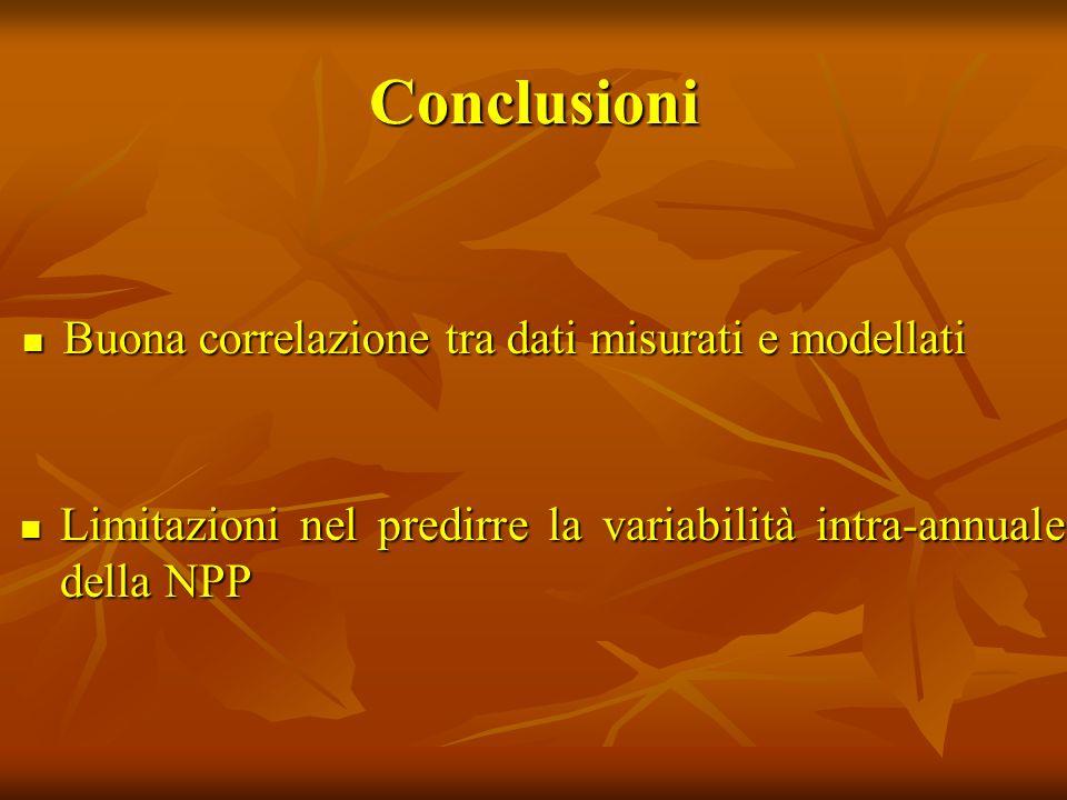 Conclusioni Buona correlazione tra dati misurati e modellati Buona correlazione tra dati misurati e modellati Limitazioni nel predirre la variabilità intra-annuale della NPP Limitazioni nel predirre la variabilità intra-annuale della NPP