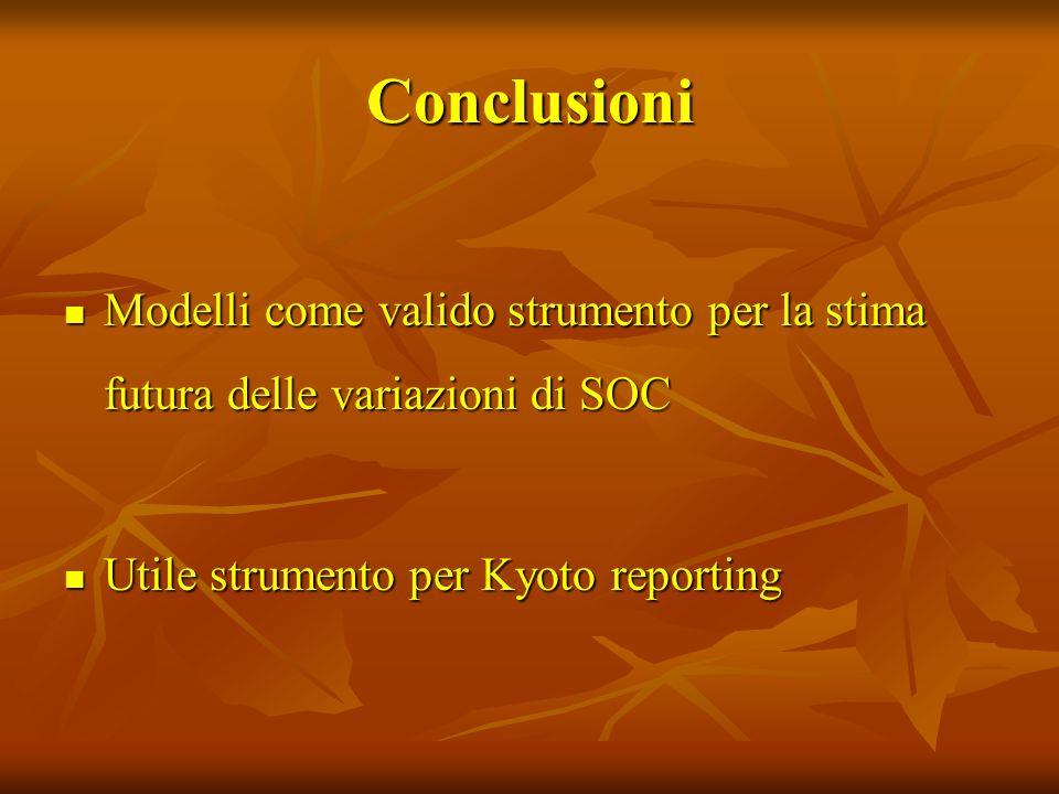 Conclusioni Modelli come valido strumento per la stima futura delle variazioni di SOC Modelli come valido strumento per la stima futura delle variazio