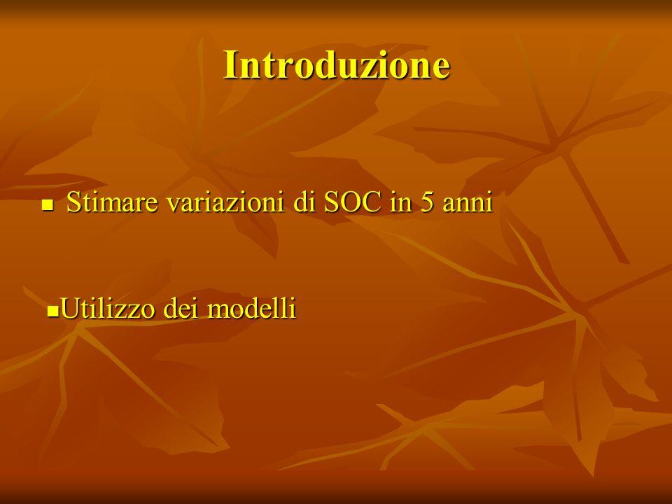 Introduzione Stimare variazioni di SOC in 5 anni Stimare variazioni di SOC in 5 anni Utilizzo dei modelli Utilizzo dei modelli