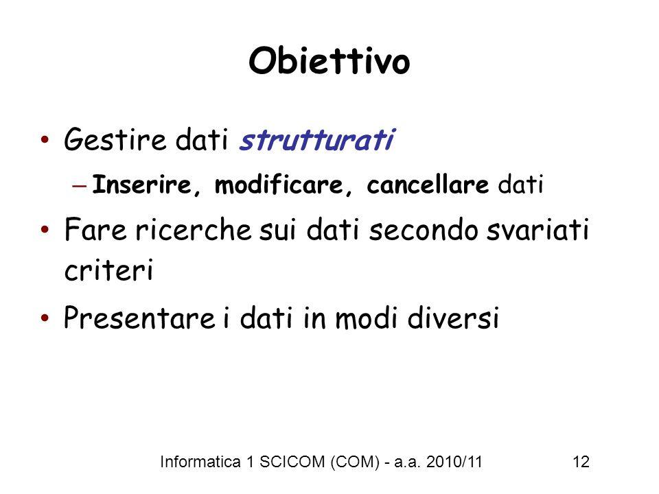 Informatica 1 SCICOM (COM) - a.a. 2010/11 12 Obiettivo Gestire dati strutturati – Inserire, modificare, cancellare dati Fare ricerche sui dati secondo