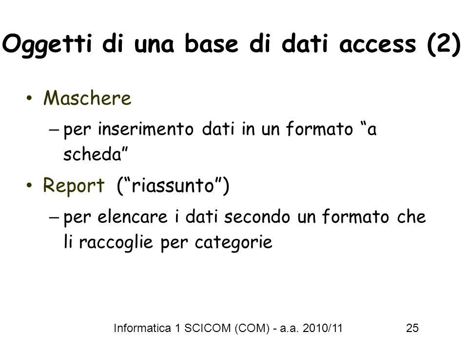 Informatica 1 SCICOM (COM) - a.a. 2010/11 25 Oggetti di una base di dati access (2) Maschere – per inserimento dati in un formato a scheda Report (ria