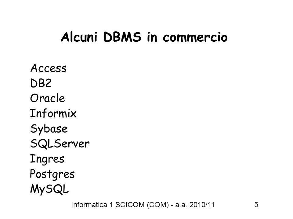 Informatica 1 SCICOM (COM) - a.a. 2010/11 5 Alcuni DBMS in commercio Access DB2 Oracle Informix Sybase SQLServer Ingres Postgres MySQL