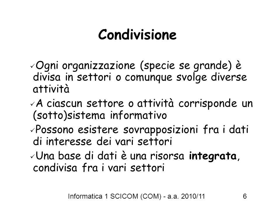 Informatica 1 SCICOM (COM) - a.a. 2010/11 6 Condivisione Ogni organizzazione (specie se grande) è divisa in settori o comunque svolge diverse attività