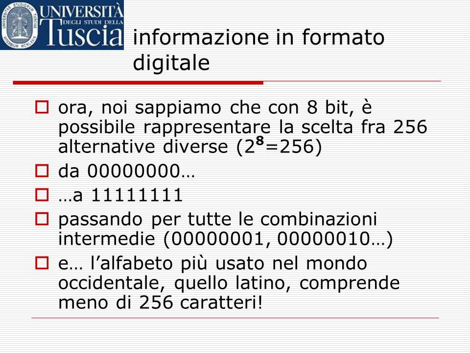 informazione in formato digitale se tutto questo è chiaro, possiamo passare alle cose davvero interessanti! …ad esempio, ai testi. come fa il computer