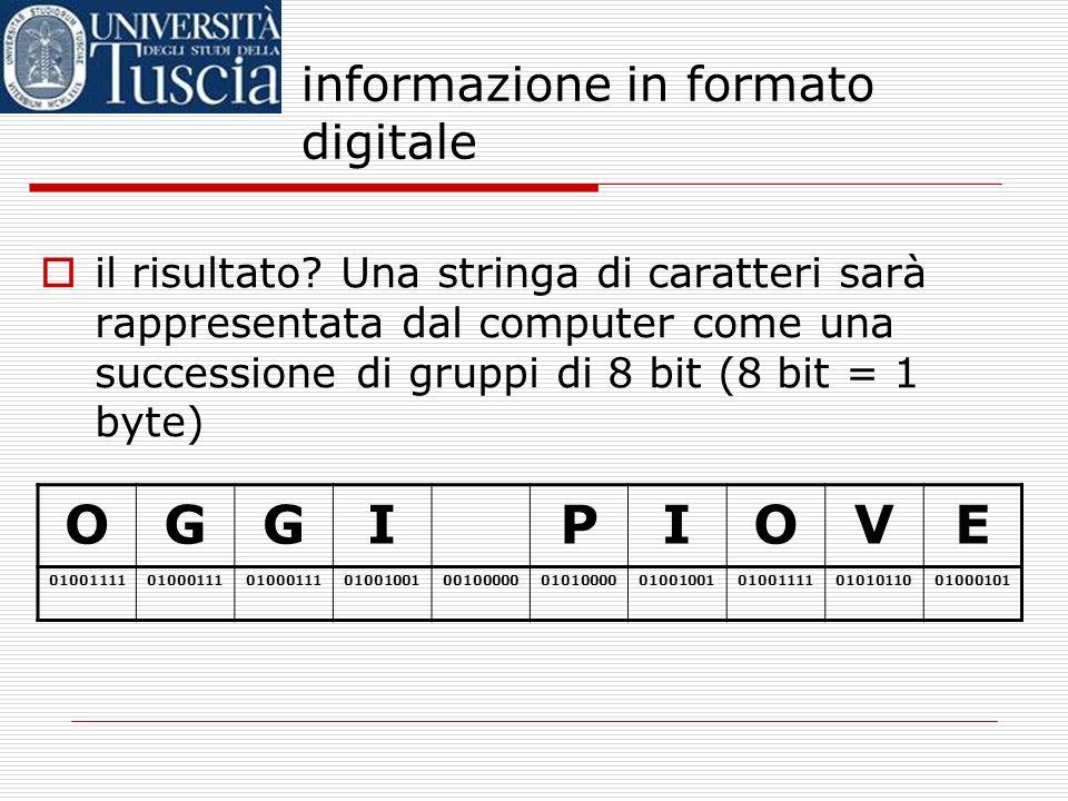 informazione in formato digitale costruiremo cioè una TABELLA DI CODIFICA DEI CARATTERI che associ caratteri alfanumerici a gruppi di 8 bit la più dif