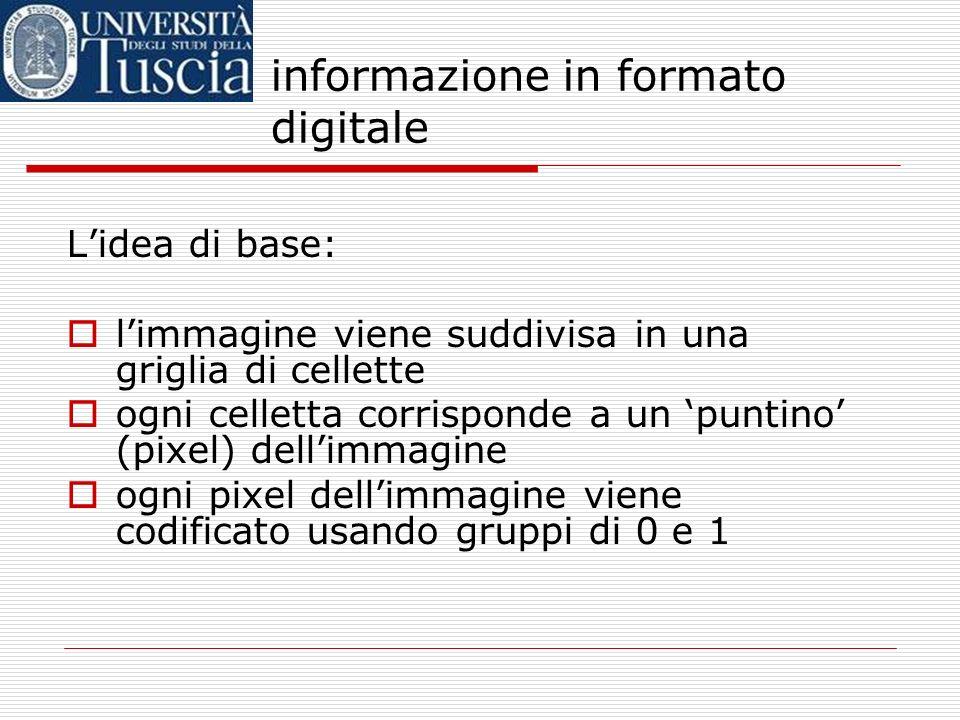 informazione in formato digitale OK, nel caso dei testi è tutto chiaro… …ma davvero si può usare lo stesso meccanismo per tutti i tipi di informazione