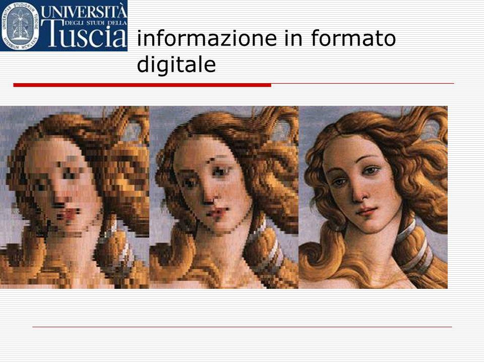 informazione in formato digitale se limmagine è solo in bianco e nero (senza grigi), basterà usare un 1 per i pixel neri, e uno 0 per i pixel bianchi