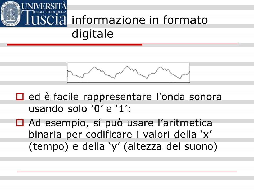 informazione in formato digitale E i suoni? sappiamo che le onde sonore sono rappresentabili graficamente, quasi come se fossero funzioni: