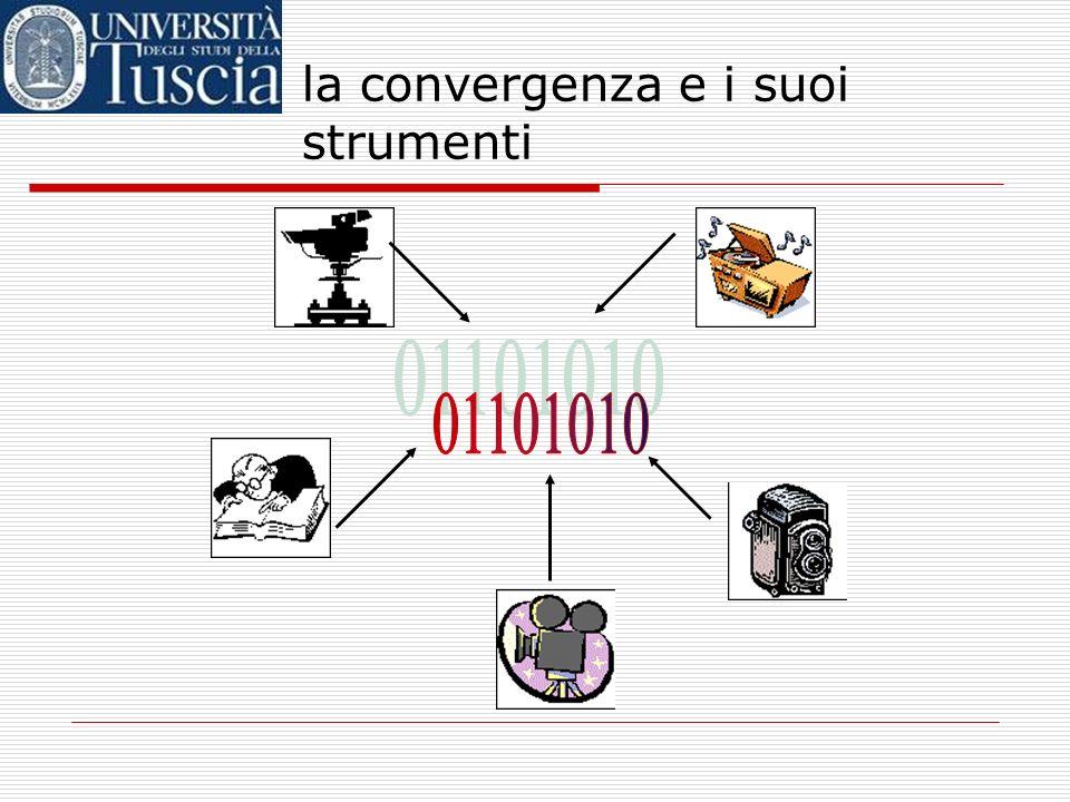 la convergenza e i suoi strumenti tradizionalmente, tipi di informazione diversi erano associati a media diversi; ogni medium aveva i suoi particolari