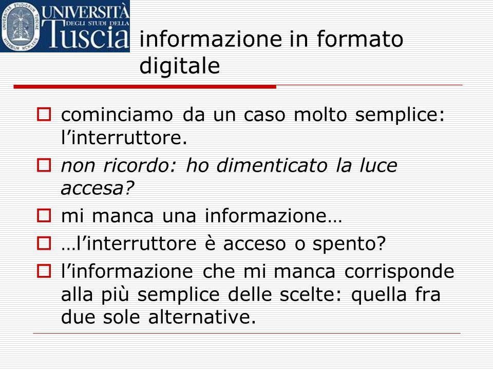 informazione in formato digitale parliamo spesso di società dellinformazione ma… cosa vuol dire informazione? il nostro concetto di informazione è abb