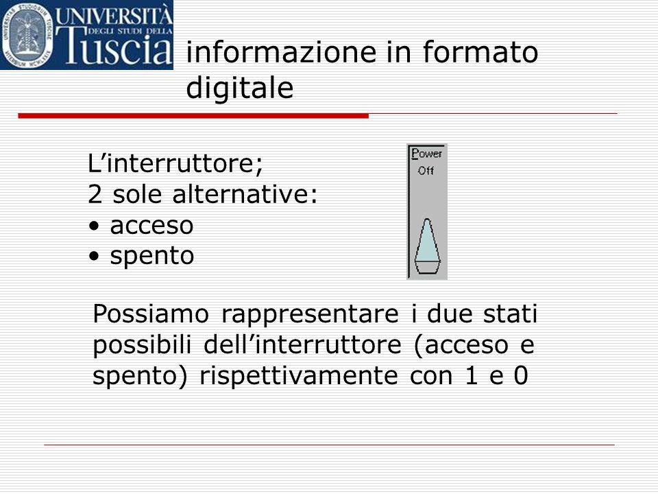 informazione in formato digitale cominciamo da un caso molto semplice: linterruttore. non ricordo: ho dimenticato la luce accesa? mi manca una informa
