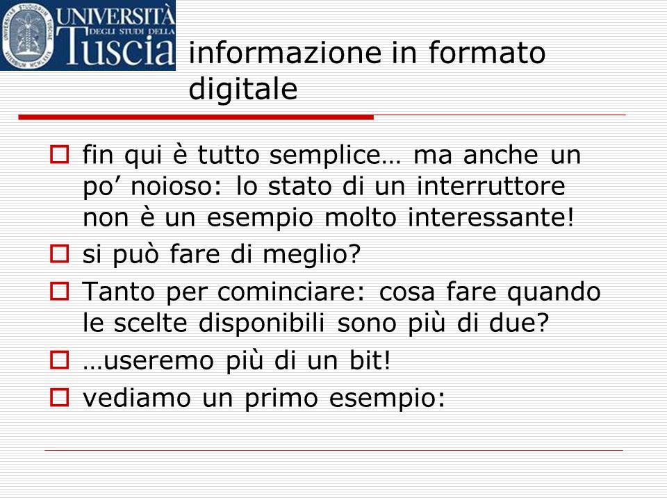 informazione in formato digitale 1 bit rappresenta lo stato dellinterruttore Interruttore acceso: 1 Interruttore spento: 0