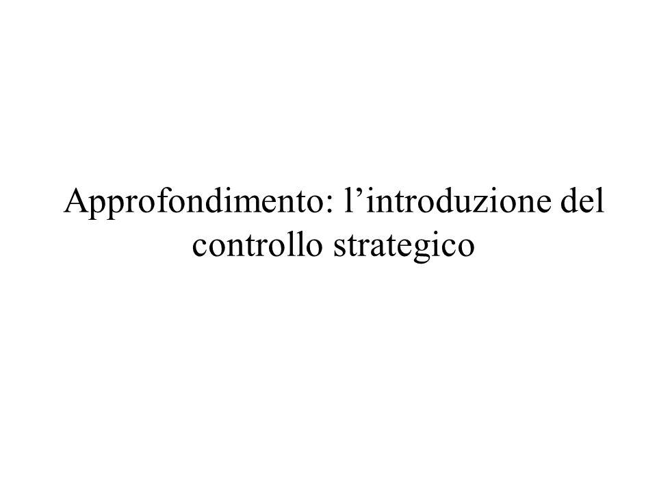Approfondimento: lintroduzione del controllo strategico