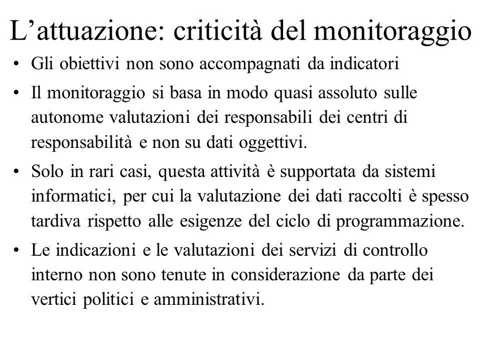 Lattuazione: criticità del monitoraggio Gli obiettivi non sono accompagnati da indicatori Il monitoraggio si basa in modo quasi assoluto sulle autonom
