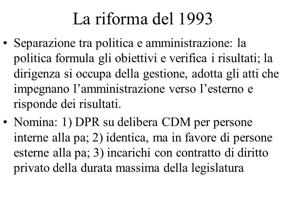 La riforma del 1993 Separazione tra politica e amministrazione: la politica formula gli obiettivi e verifica i risultati; la dirigenza si occupa della