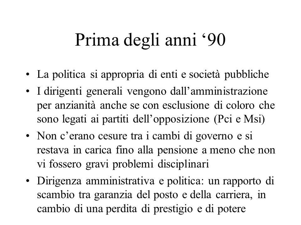 Prima degli anni 90 La politica si appropria di enti e società pubbliche I dirigenti generali vengono dallamministrazione per anzianità anche se con e