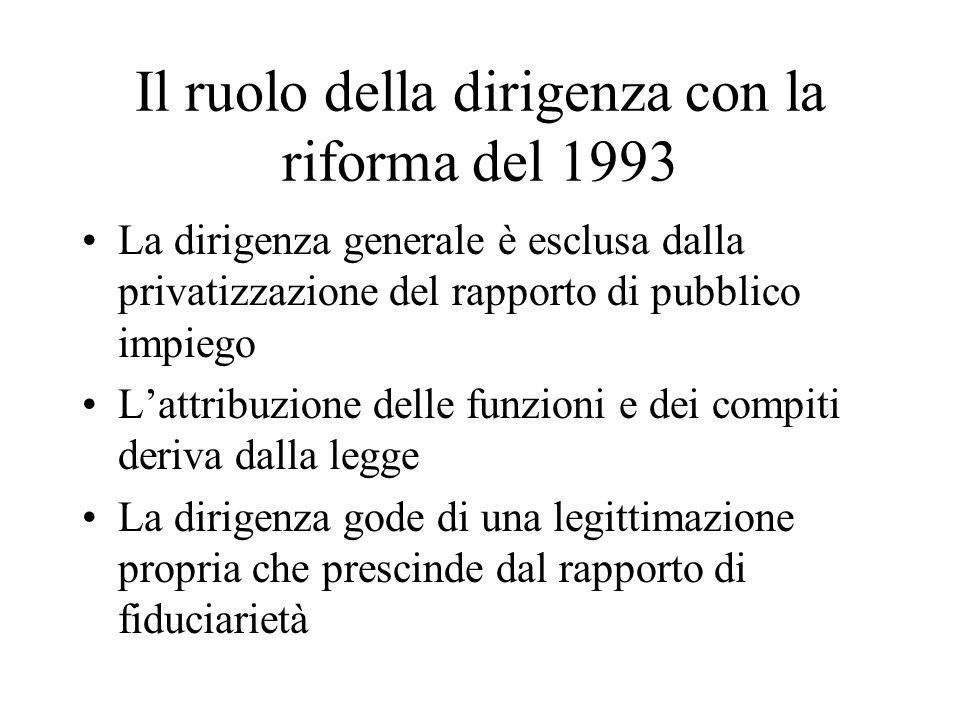 Il ruolo della dirigenza con la riforma del 1993 La dirigenza generale è esclusa dalla privatizzazione del rapporto di pubblico impiego Lattribuzione