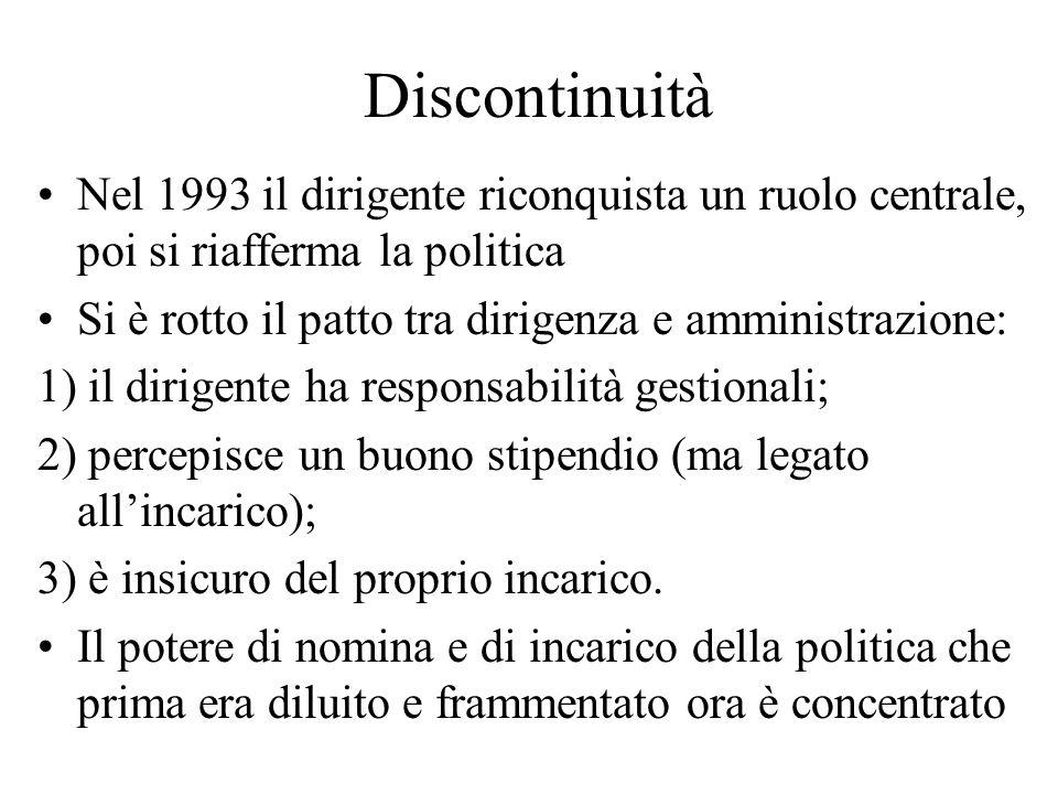 Discontinuità Nel 1993 il dirigente riconquista un ruolo centrale, poi si riafferma la politica Si è rotto il patto tra dirigenza e amministrazione: 1