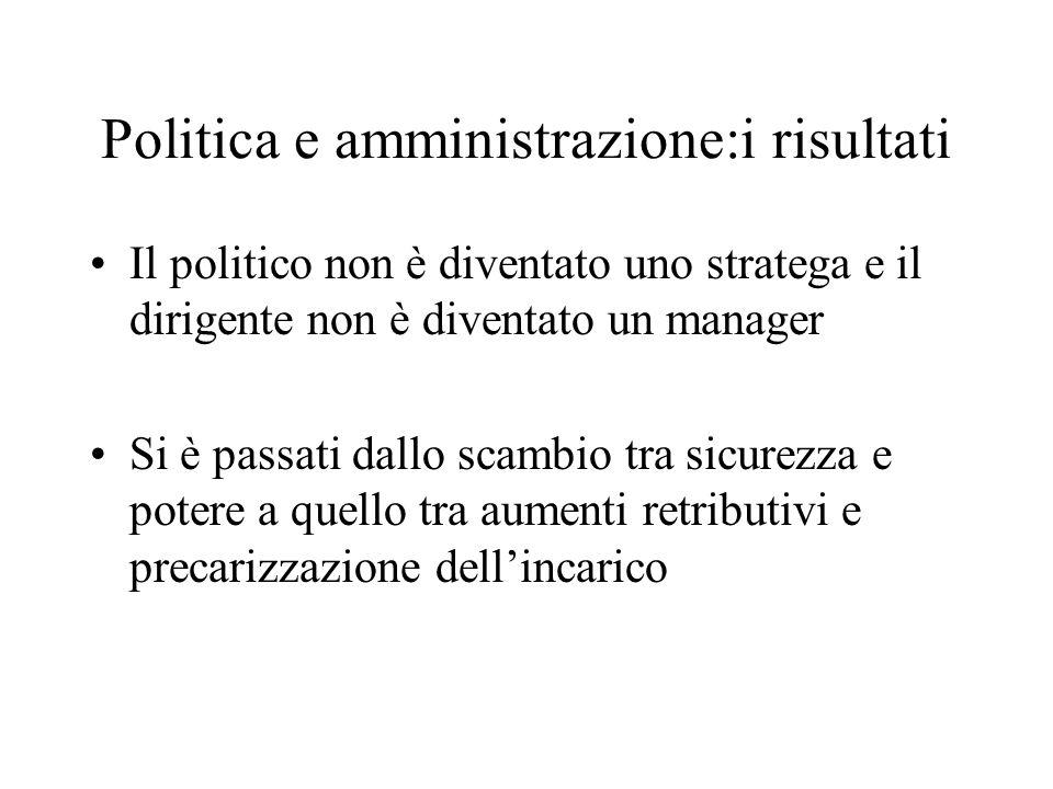 Politica e amministrazione:i risultati Il politico non è diventato uno stratega e il dirigente non è diventato un manager Si è passati dallo scambio t