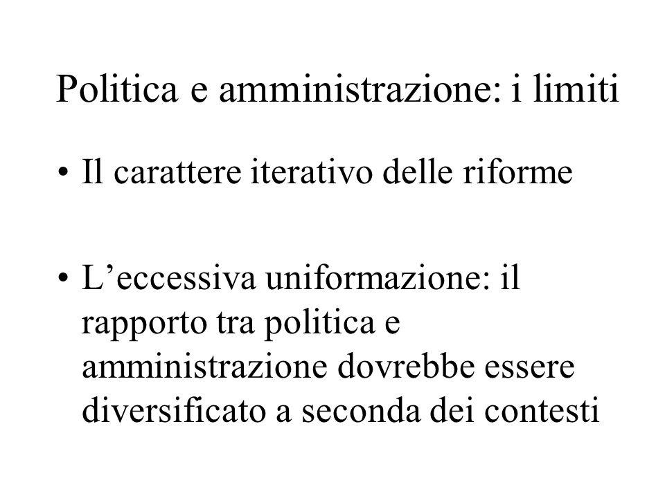 Politica e amministrazione: i limiti Il carattere iterativo delle riforme Leccessiva uniformazione: il rapporto tra politica e amministrazione dovrebb