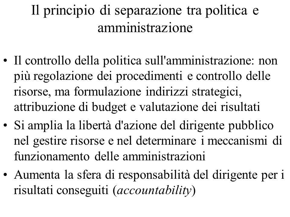 Il principio di separazione tra politica e amministrazione Il controllo della politica sull'amministrazione: non più regolazione dei procedimenti e co