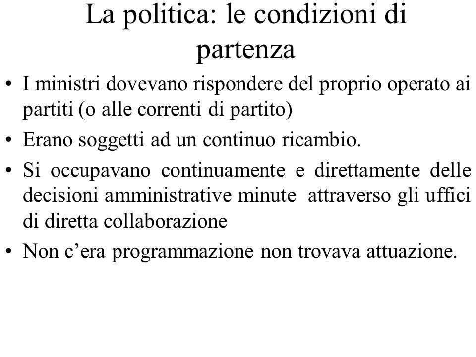 La politica: le condizioni di partenza I ministri dovevano rispondere del proprio operato ai partiti (o alle correnti di partito) Erano soggetti ad un