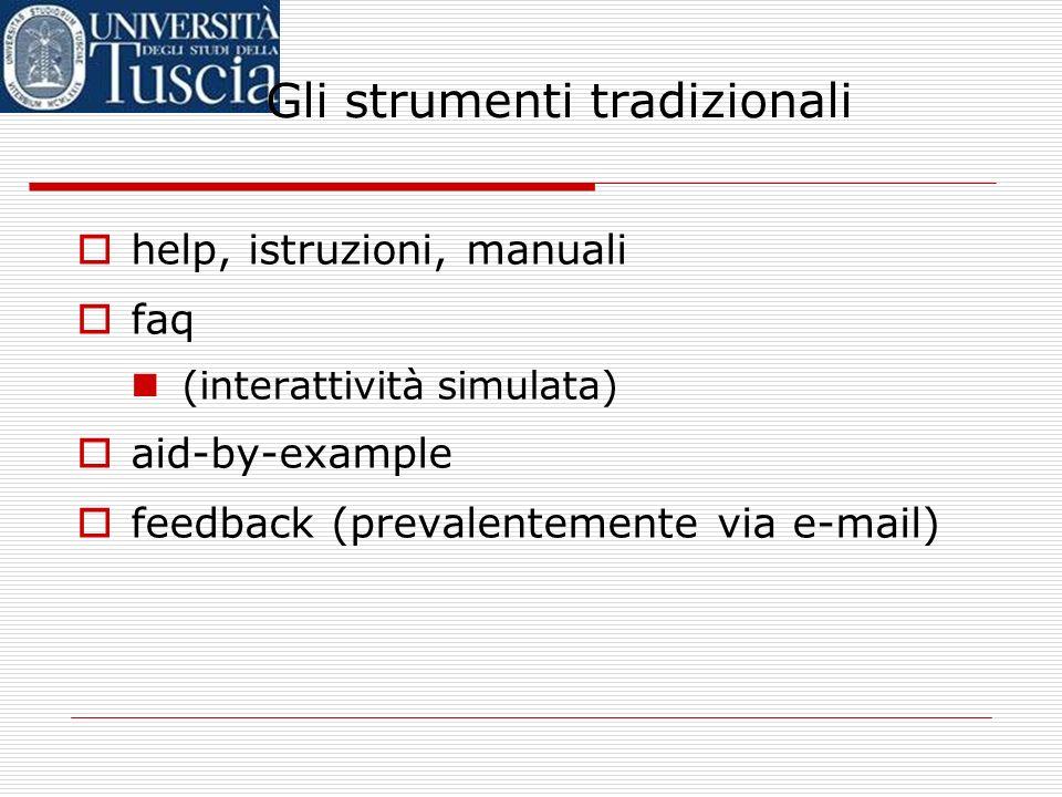 Gli strumenti tradizionali help, istruzioni, manuali faq (interattività simulata) aid-by-example feedback (prevalentemente via e-mail)