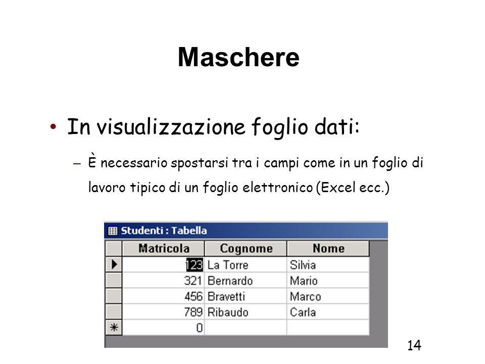 Informatica 1 SCICOM- a.a. 2010/11 14 Maschere In visualizzazione foglio dati: – È necessario spostarsi tra i campi come in un foglio di lavoro tipico