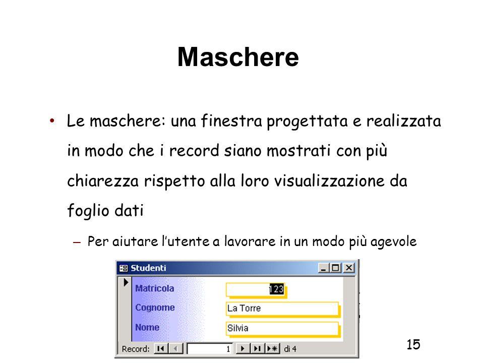 Informatica 1 SCICOM- a.a. 2010/11 15 Maschere Le maschere: una finestra progettata e realizzata in modo che i record siano mostrati con più chiarezza