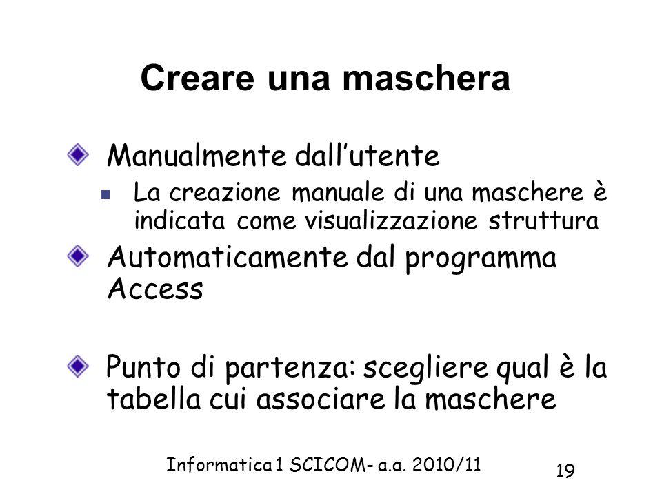 Informatica 1 SCICOM- a.a. 2010/11 19 Creare una maschera Manualmente dallutente La creazione manuale di una maschere è indicata come visualizzazione