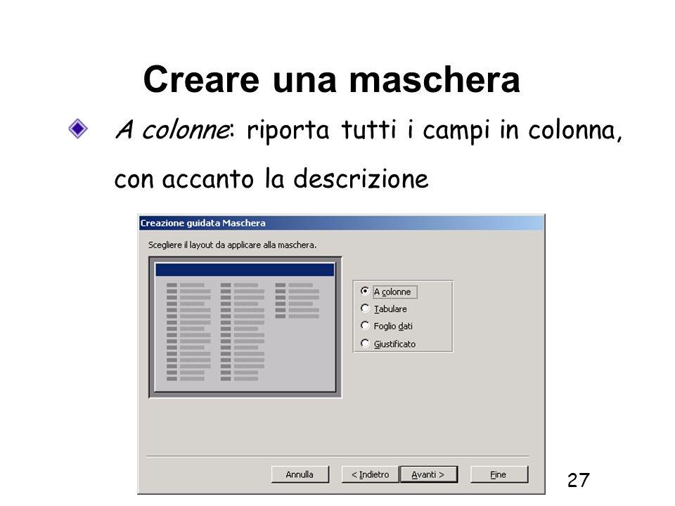 Informatica 1 SCICOM- a.a. 2010/11 27 Creare una maschera A colonne: riporta tutti i campi in colonna, con accanto la descrizione