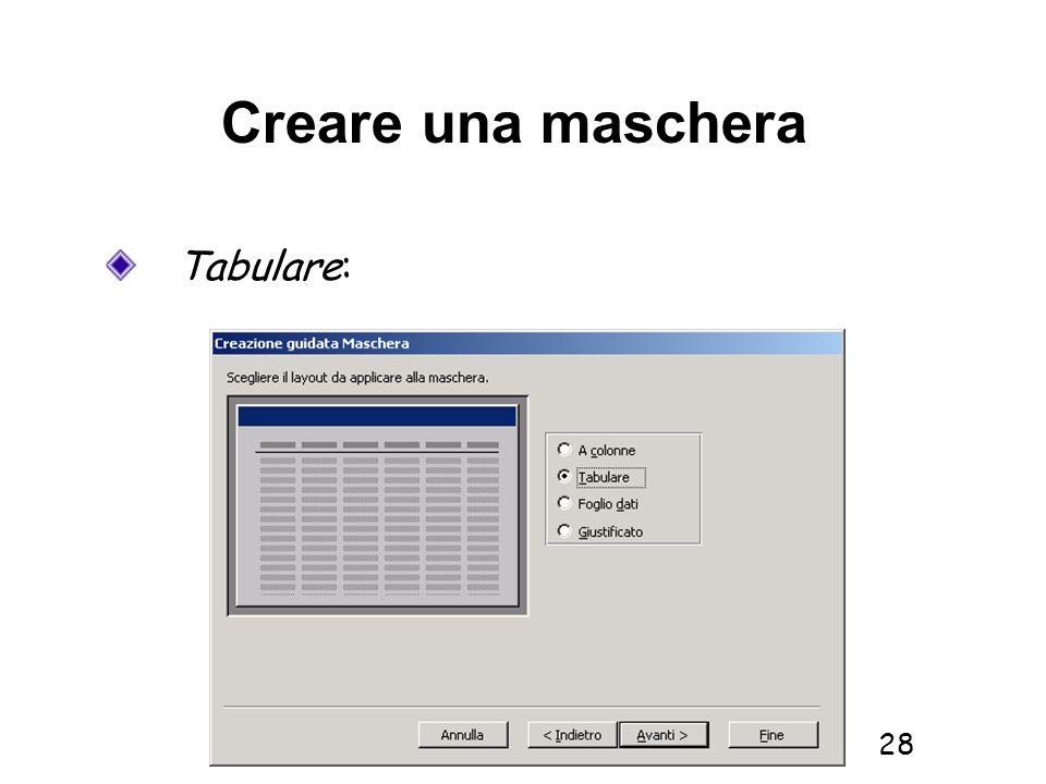 Informatica 1 SCICOM- a.a. 2010/11 28 Creare una maschera Tabulare: