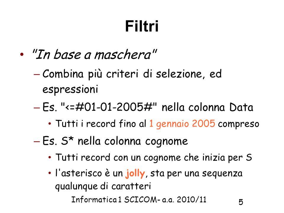 Informatica 1 SCICOM- a.a. 2010/11 5 Filtri