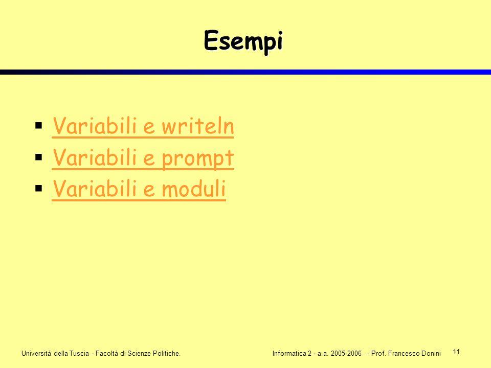 11 Università della Tuscia - Facoltà di Scienze Politiche.Informatica 2 - a.a. 2005-2006 - Prof. Francesco Donini Esempi Variabili e writeln Variabili