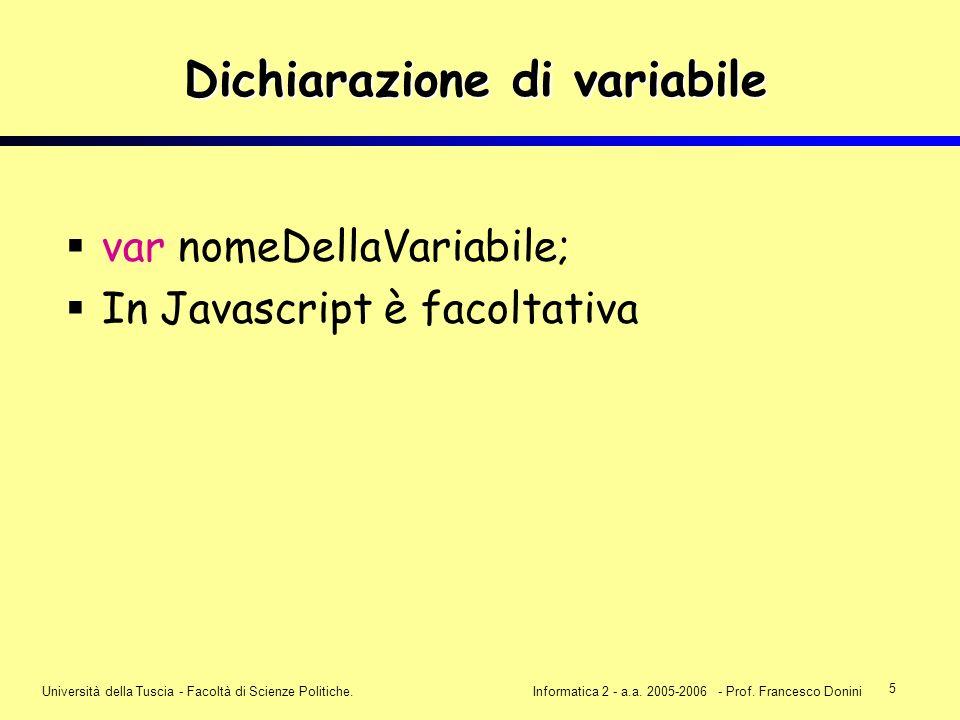 5 Università della Tuscia - Facoltà di Scienze Politiche.Informatica 2 - a.a. 2005-2006 - Prof. Francesco Donini Dichiarazione di variabile var nomeDe