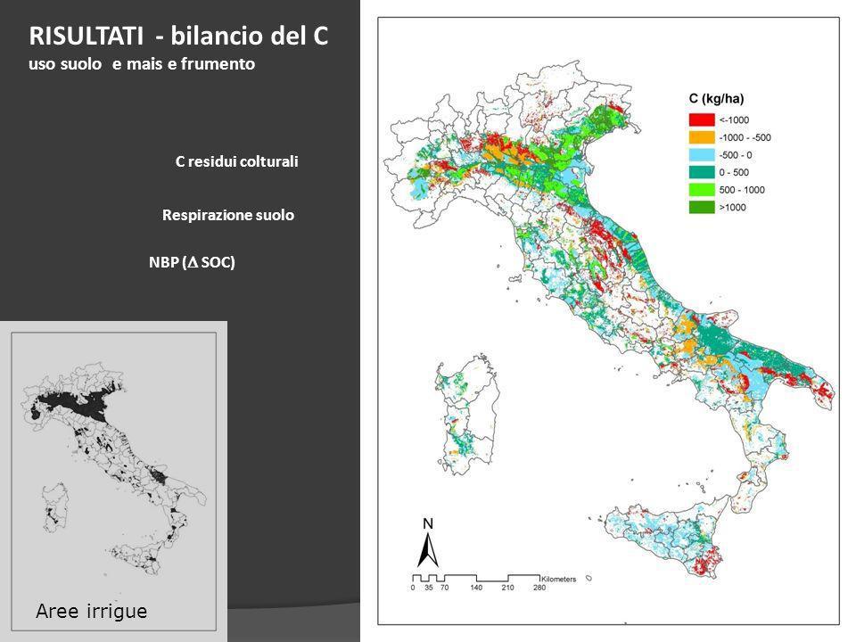 C residui colturali Respirazione suolo RISULTATI - bilancio del C uso suolo e mais e frumento NBP ( SOC) Aree irrigue