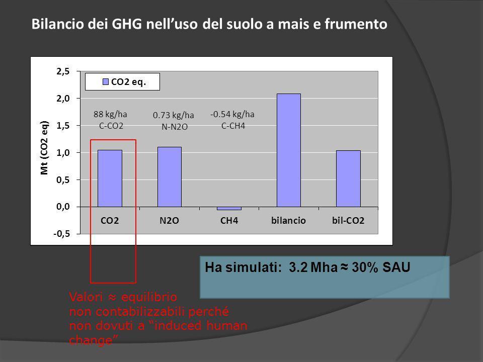 Ha simulati: 3.2 Mha 30% SAU Bilancio dei GHG nelluso del suolo a mais e frumento Valori equilibrio non contabilizzabili perché non dovuti a induced human change