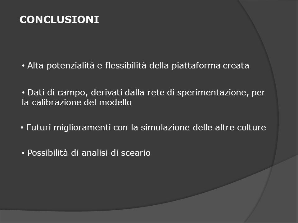 CONCLUSIONI Alta potenzialità e flessibilità della piattaforma creata Dati di campo, derivati dalla rete di sperimentazione, per la calibrazione del modello Futuri miglioramenti con la simulazione delle altre colture Possibilità di analisi di sceario
