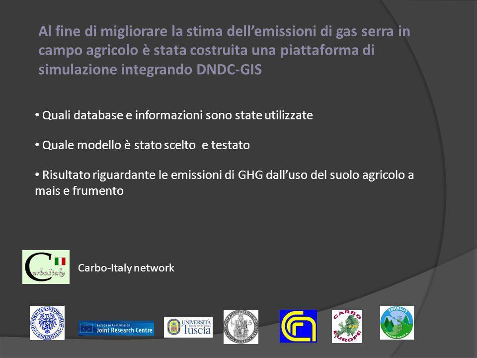 Al fine di migliorare la stima dellemissioni di gas serra in campo agricolo è stata costruita una piattaforma di simulazione integrando DNDC-GIS Quali database e informazioni sono state utilizzate Risultato riguardante le emissioni di GHG dalluso del suolo agricolo a mais e frumento Quale modello è stato scelto e testato Carbo-Italy network